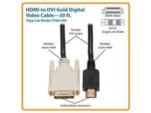 Tripp Lite P566-030 Tripp Lite HDMI to DVI Cable, Digital Monitor Adapter Cable - (HDMI to DVI-D M/M) 30-ft.