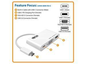 Tripp Lite USB C to VGA Multiport Adapter w/ PD Charging USB Type C to VGA (U444-06N-VU-C)