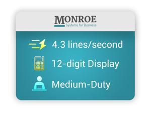 Monroe 122PDX Medium-Duty High Quality 12-Digit Print/Display Printing Calculator / Adding Machine With Paper, Ribbons and Foam Elevation Wedge
