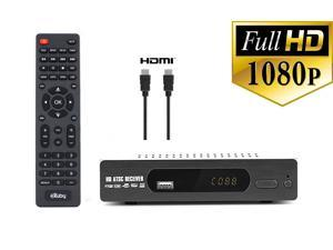 eXuby DTV Converter Box for TV and HDMI Cable for Recording and Viewing Full HD Digital Channels for Free (Instant or Scheduled Recording, 1080P HDTV, HDMI Output, 7 Day Program Guide and LCD Screen)