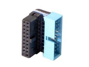 Cablecc USB 3.0 20pin Male to Female Extension Adapter  Down Angled 90 Degree for Motherboard Mainboard