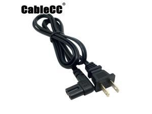 Cablecc  USA 2pin Male to 90 Degree Right Angled IEC 320 C7 Power Supply Cord cable 1M
