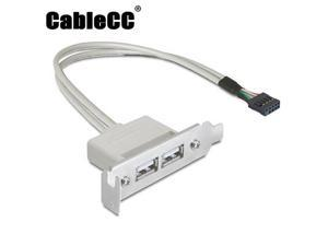 Cablecc Low Profile 9.5mm Height USB 2.0 Female Back panel to Motherboard 9pin cable with PCI bracket 40cm