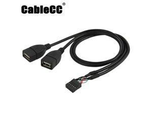 Cablecc 10 Pin Motherboard Female Header to Dual USB 2.0 Female Adapter Cable 50cm