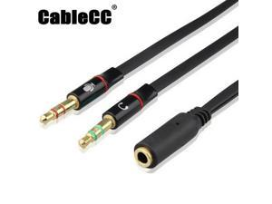 Cablecc Black Dual 3.5mm Male to Single Female Headphone Microphone Audio Splitter Cable for Cell Phone & Tablet & Laptop