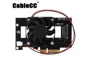 Cablecc  PCI-E 3.0 x4 Lane Host Adapter Converter Card M.2 NGFF M Key SSD to Nvme PCI Express with Cooling Fan