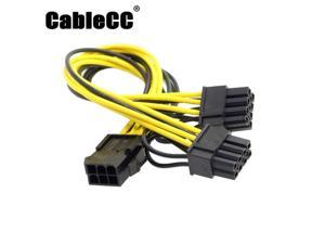 Cablecc PCI-E PCI Express ATX 6Pin Male to Dual 8Pin & 6Pin Female Video Card Extension Splitter Power Cable