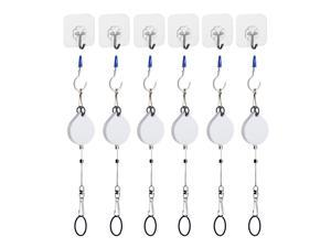KIWI design 6 Packs Retracable VR Cable Management | Ceiling Suspension System Compitable with Vive/Vive Pro Virtual Reality/Oculus Rift/Playstation VR/Microsoft MR VR Accessories (White)