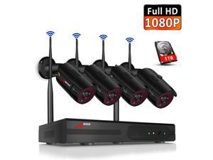ANARN 8CH 1080P Wireless Security Cameras System With 1TB Hard Drive,H.265+ 8 Channel 1080P NVR and 4PCS 1080P 2.0MP Weatherproof Home Video Surveillance Cameras with Night Vision,Motion Detection