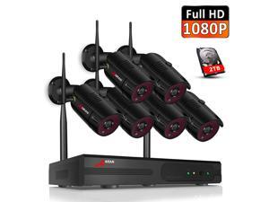 ANRAN Security Camera System Wireless, 2TB Hard Drive Pre-Install 8 Channel 1080P NVR, 6PCS 1080P 2.0MP CCTV WIFI IP Cameras for Homes,IR Night,Motion Detection, Surveillance Video Security System.