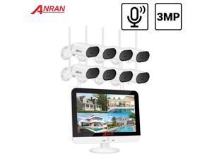 ANRAN 3MP Pan & Tilt Camera Set Security Surveillance Camera System 13-inch Wireless 8CH Monitor NVR Wifi Audio CCTV Camera Kit