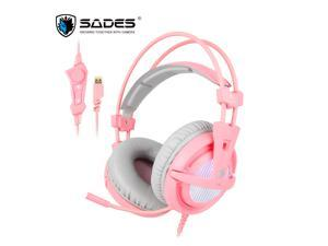 SADES A6 Virtual 7.1 Surround Sound USB Connector Wired Game Headset Over Ear For PC/Laptop