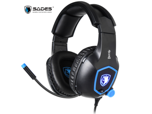 SADES Dazzle Gaming Headset Virtual 7.1 Surround PC Headset With Noise Cancelling Microphones Soft Headband 50mm Speaker For PC/Laptop