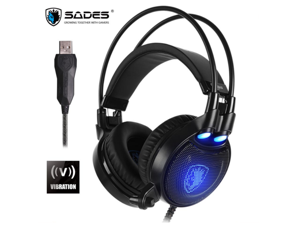 SADES Octopus Plus Gaming Headset Vibration Stereo Sound Bass Effect USB Headphones With Microphone For PC