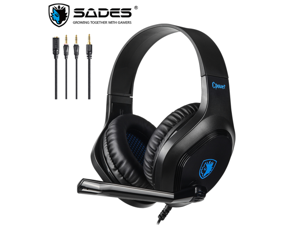 SADES CPOWER Gaming Headphones Swivel-to-mute Mic, Stereo Sound Super Lightweight Wired Headset With Microphone For PC, PS4, Xbox One, Laptop, Mac, Android, iOS