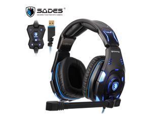 SADES Knight Pro USB Gaming Headset BONGIOVI Audio Noise-Cancelling Headphones Professional Gamer  Headset