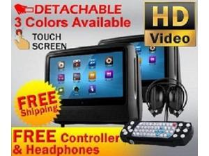 """Black Dual Digital Detachable 9"""" Touch Screen Headrest DVD Player Monitors With Wireless Headphones"""