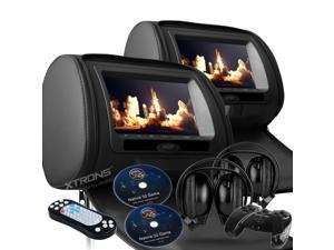 """Dual Black Pair 9"""" LED Headrest DVD Player Monitors With Zipper Covers. USB/SD Card Readers. 2 Dual Channel Wireless Headphones and 2 PSP Wireless Game Controllers & Cds Included"""