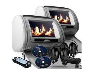 """Dual Gray Pair 9"""" LED Headrest DVD Player Monitors With Zipper Covers. USB/SD Card Readers. 2 Dual Channel Wireless Headphones and 2 PSP Wireless Game Controllers & Cds Included"""