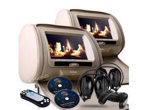 """Dual Tan Pair 9"""" LED Headrest DVD Player Monitors With Zipper Covers. USB/SD Card Readers. 2 Dual Channel Wireless Headphones and 2 PSP Wireless Game Controllers & Cds Included"""