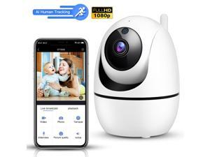 AI Human Tracking WiFi Security Camera, Wireless 1080P PTZ Pan/Tilt Cam, 3X Digital Zoom,2-way audio, Night Vision for Baby, Pet, Oldmen, Office, Home