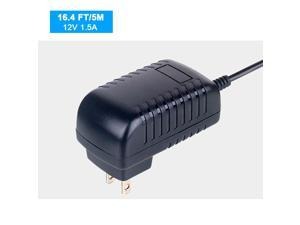 12 Volt 1.5A Power Adapter Supply AC to DC 2.1mm X 5.5mm Plug 12v 1.5 Amp Power Supply Wall Plug Extra Long 16.4(5M) Foot Cord for Outdoor WiFi Camera