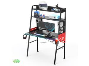 Eureka Ergonomic Colonel Series MGD-02 E-sport Gaming Desk with RGB Fiber Optic Lighting - All Within Your Reach