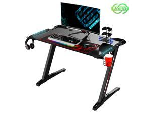 Eureka Ergonomic® Z1-S Gaming Desk with LED Lights, Controller Stand, Cup Holder & Headphone Hook - Black