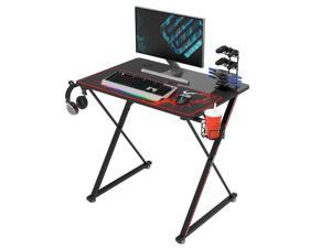 Eureka Gaming® Captain X Series 31'' E-sport Desk, Home Office Gaming Computer Desk, X Shaped Gamer Workstation with Free Controller Stand, Cup Holder, Headphone Hook & Mousepad, Black
