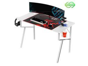 Eureka Gaming® Captain K Series 47'' E-sport Desk, Home Office Gaming Computer Desk, K Shaped Gamer Workstation with Free Controller Stand, Cup Holder, Headphone Hook & Mousepad, White