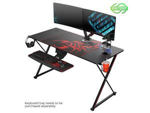 Eureka Gaming® Captain X Series 55'' E-sport Desk, Home Office Gaming Computer Desk, X Shaped Gamer Workstation with Free Controller Stand, Cup Holder, Headphone Hook & Mousepad, Black