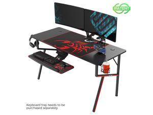 """EUREKA ERGONOMIC Gaming Desk 55"""" K Shaped Large Home Office Gaming Computer Table, with Controller Stand Cup Holder Headphone Hook Free Mousepad, Black"""