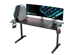 """Eureka Ergonomic® Gaming Computer Desk 55"""" Home Office Gaming PC Tables New Polygon Legs Design with RGB LED Lights, COLONEL SERIES GIP-55B, Black"""