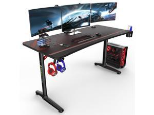 """Eureka Ergonomic 60"""" Gaming Desk, Captain Series Home Office Computer Desk with Large Carbon Fiber Surface, Polygon Legs Design, Free Mouse pad, Controller Stand, Cup Holder, Headphone Hook, Black"""