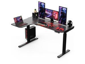 """Eureka Ergonomic® L Shaped Standing Desk 61"""", Electric Height Adjustable Stand Up Desk for Home Office Workstation, Black - Left Hand"""