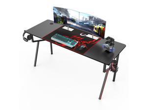Eureka Gaming® Captain K Series 63'' E-sport Desk, Home Office Gaming Computer Desk, K Shaped Gamer Workstation with Free Controller Stand, Cup Holder, Headphone Hook & Mousepad, Black