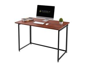 """Eureka Ergonomic® 43"""" Modern Folding Computer Desk, Teen Student Dorm Study Desks, Easy to be Folded Writing Desk, No Assembly Required, Home and Office, Cherry"""