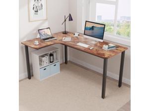 "EUREKA ERGONOMIC L Shaped Corner Gaming Computer Desk, 60"" Multi-Functional Office Corner Desk,Computer Desk Study Writing Table for Home Office, Wooden Table Workstation, Left Side, Archaize Brown"