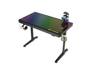 EUREKA ERGONOMIC I Shaped RGB Gaming Desk, 43 inch Home Office Computer Desk with LED Lights APP Control Music Sync Color Changing, Free Handle Rack, Cup Holder and headphone Hook, Black
