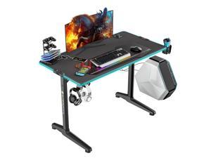 """Eureka Ergonomic Gaming Computer Desk 44"""" Home Office Gaming PC Tables New Polygon Legs Design with RGB LED Lights, Colonel Series GIP-44B, Black"""