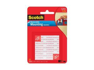 Scotch Foam Mounting Removable Squares, 1/2 x 1/2 Inch, 64 Squares 108SML 6PACK