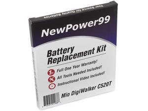 Battery Replacement Kit for Mitac Mio DigiWalker C520T with Installation Video, Tools, and Extended Life Battery.