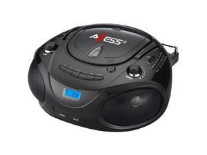 Axess Black Portable Boombox MP3_CD Player with Text Display,with AM_FM Stereo, USB_SD_MMC_AUX Inputs