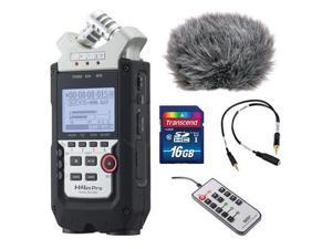 Zoom H4n Pro 4_Channel Handy Recorder Bundle with Custom Windbuster for Zoom H4n, Line_to_Mic Attenuator Cable, Remote Contro