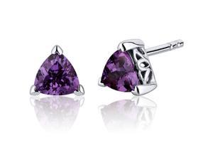 Oravo SE8012 2.00 Carats Alexandrite Trillion Cut V Prong Stud Earrings in Sterling Silver