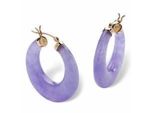 Lavender Jade 14k Yellow Gold Hoop Earrings (30 mm)
