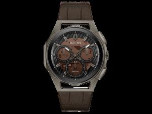 Bulova Curv 98A231 Gray Stainless Steel 44mm Brown Leather Quartz Men's Watch