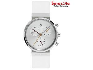 Jacob Jensen 616 Silver Dial Chronograph Titanium White Leather Women's Watch