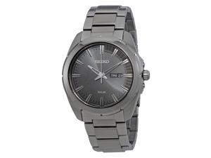Seiko SNE419 Recraft Series Grey Ion-Plated Stainless Steel Black Dial Men's Solar Powered Watch