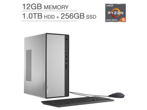 New Lenovo IdeaCentre Desktop   AMD Ryzen 5 4600G Processor   Integrated AMD Radeon Graphics  12GB RAM  256GB SSD +1TB HDD  Keyboard and Mouse   Windows 10 Home